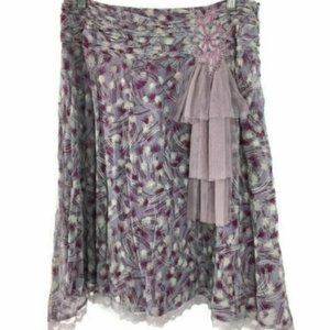 Free People Skirt Silk Floral Floral Lace Trim